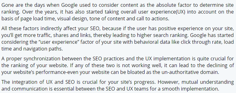 importance of ux design in seo